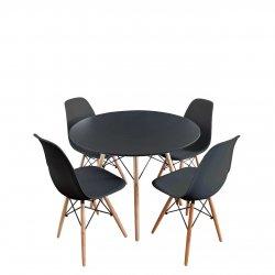 Lorin Round asztal + 4 db. Noire szék